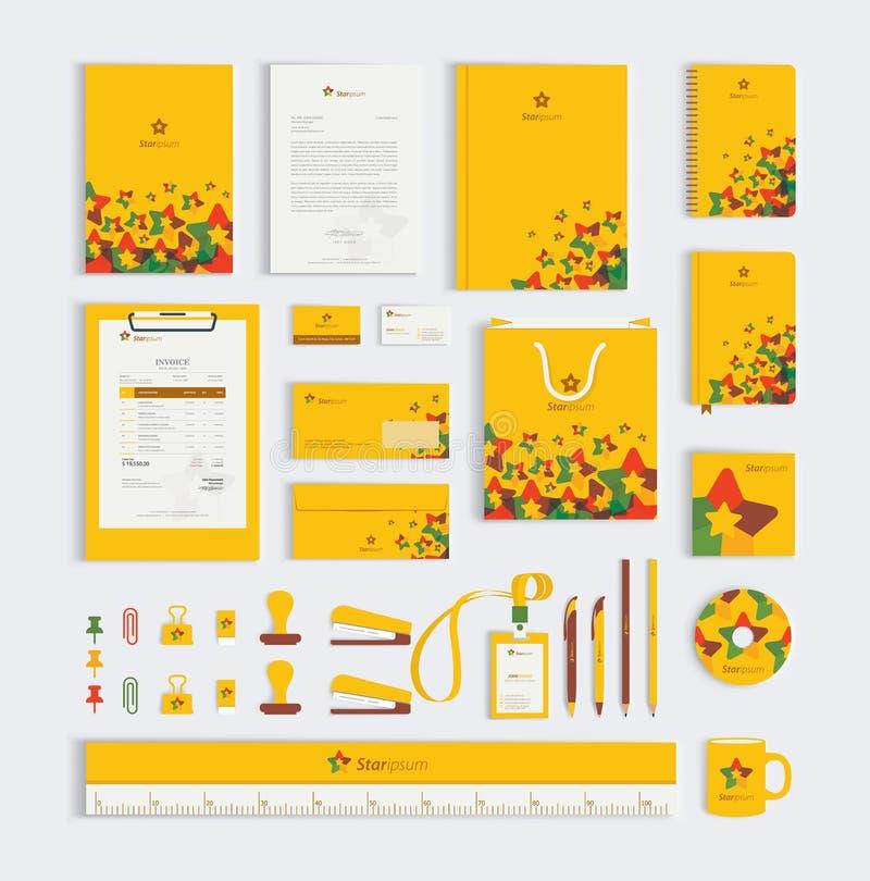 Κίτρινο εταιρικό σχέδιο προτύπων προτύπων επιχειρησιακών χαρτικών καθορισμένο διανυσματική απεικόνιση