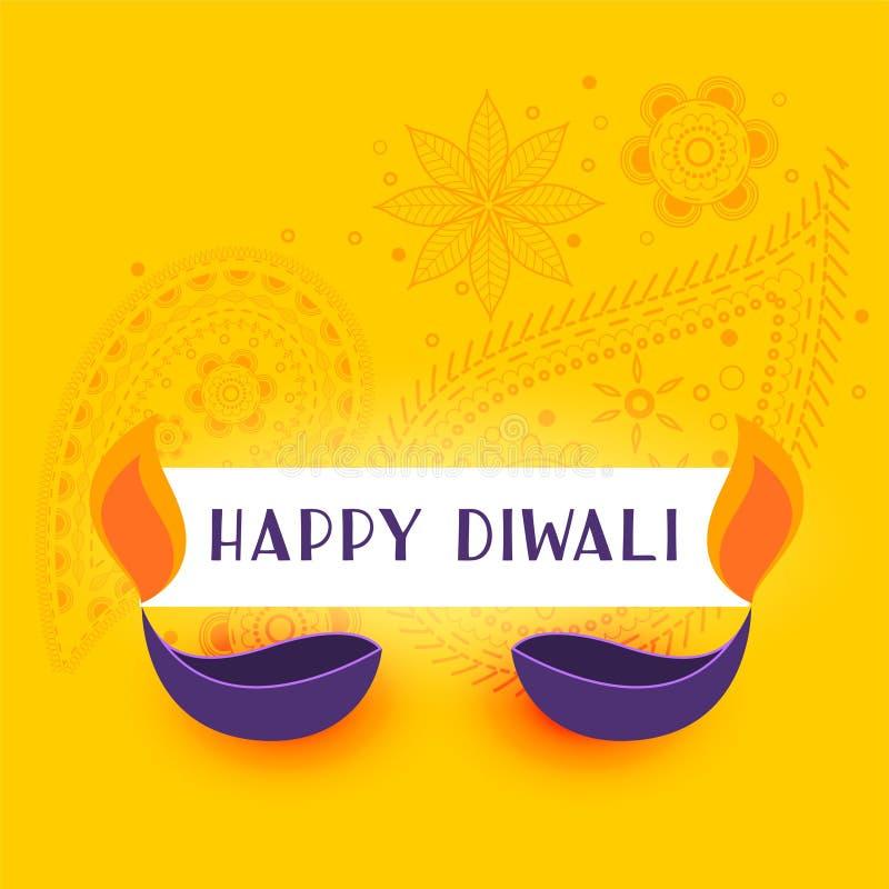 Κίτρινο ευτυχές υπόβαθρο diwali με το diya δύο ελεύθερη απεικόνιση δικαιώματος