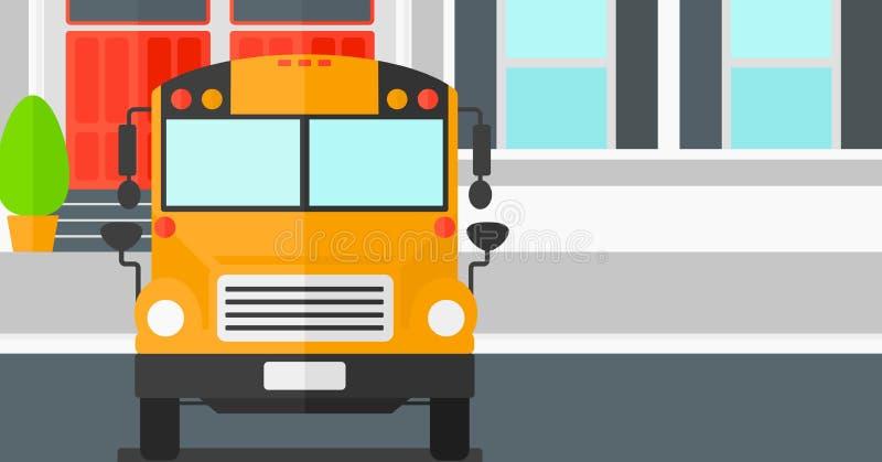 Κίτρινο λεωφορείο στο υπόβαθρο του σχολικού κτιρίου ελεύθερη απεικόνιση δικαιώματος