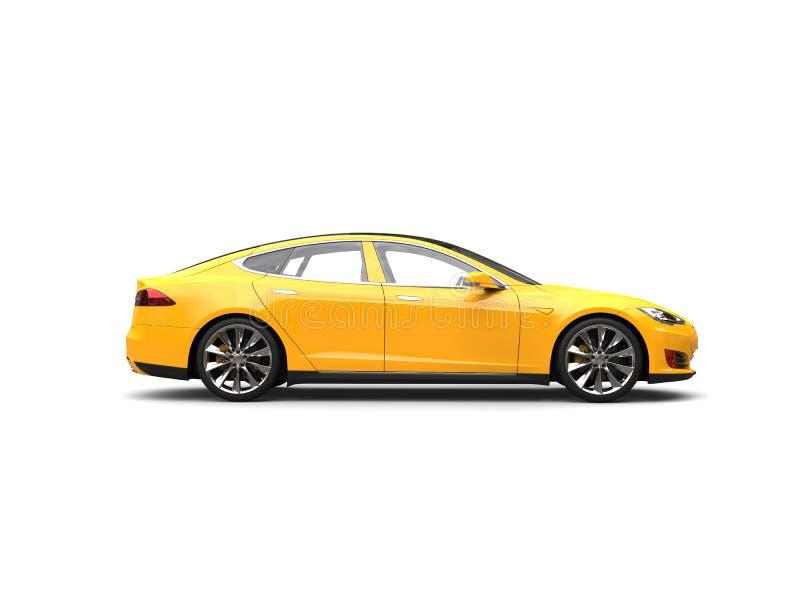 Κίτρινο ηλεκτρικό αθλητικό αυτοκίνητο θερινών ήλιων - πλάγια όψη απεικόνιση αποθεμάτων