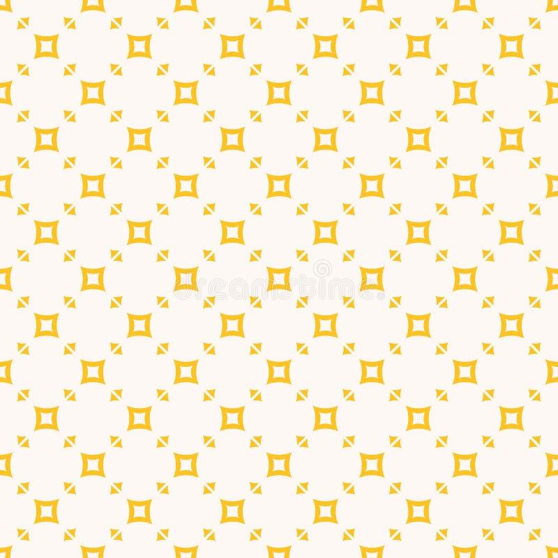 Κίτρινο και άσπρο διανυσματικό γεωμετρικό άνευ ραφής σχέδιο με τα μικρά τετράγωνα, τρίγωνα ελεύθερη απεικόνιση δικαιώματος