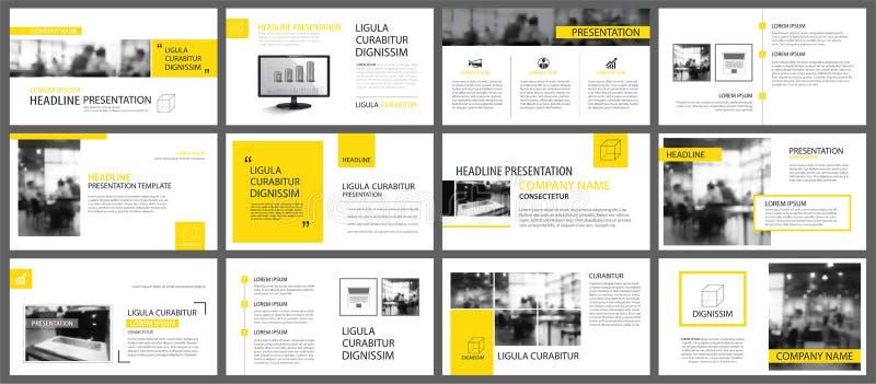 Κίτρινο και άσπρο στοιχείο για τη φωτογραφική διαφάνεια infographic στο υπόβαθρο Δημόσιες σχέσεις ελεύθερη απεικόνιση δικαιώματος
