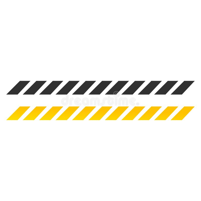 Κίτρινο και μαύρο εικονίδιο κορδελλών προσοχής, διανυσματικό illustraction που απομονώνεται στο άσπρο υπόβαθρο διανυσματική απεικόνιση