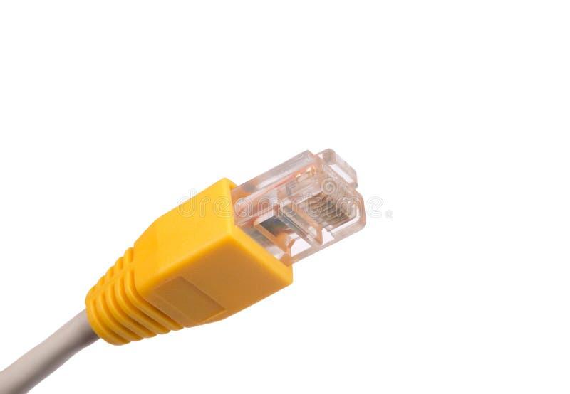 Κίτρινο καλώδιο υπολογιστών στο λευκό στοκ φωτογραφία με δικαίωμα ελεύθερης χρήσης