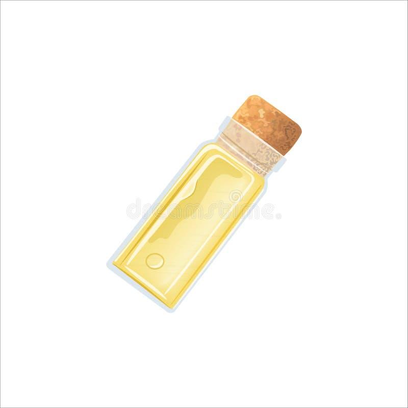 Κίτρινο κενό φιαλίδιο πετρελαίου με το φελλό, tranparent παγωμένος-άσπρο φιαλίδιο, μπουκάλι μυρωδιάς, μπουκάλι ιατρικής, βάζο ελεύθερη απεικόνιση δικαιώματος