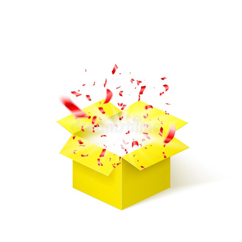 Κίτρινο κιβώτιο με το κόκκινο κομφετί Αιφνιδιαστικό κιβώτιο επίσης corel σύρετε το διάνυσμα απεικόνισης απεικόνιση αποθεμάτων