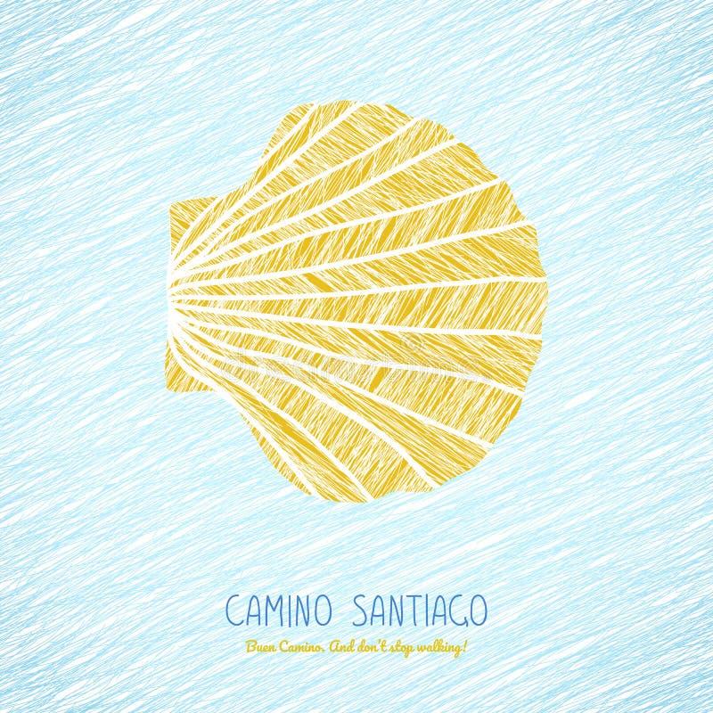 Κίτρινο κοχύλι οστράκων απομονωμένο λευκό συμβόλων θαλασσινών κοχυλιών του Σαντιάγο camino ανασκόπησης de διανυσματική απεικόνιση