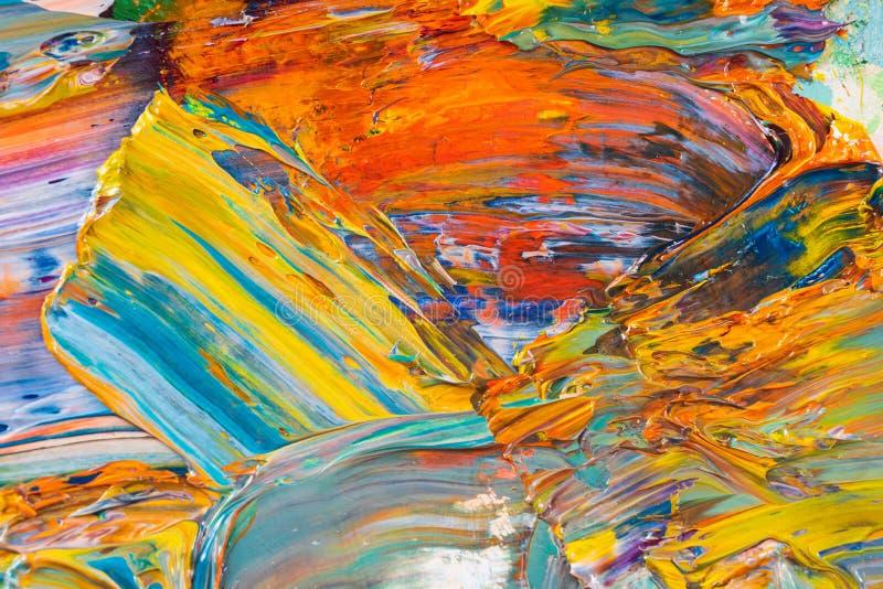 Κίτρινο, κόκκινο, μπλε, άσπρο χρώμα στην παλέτα στοκ εικόνες