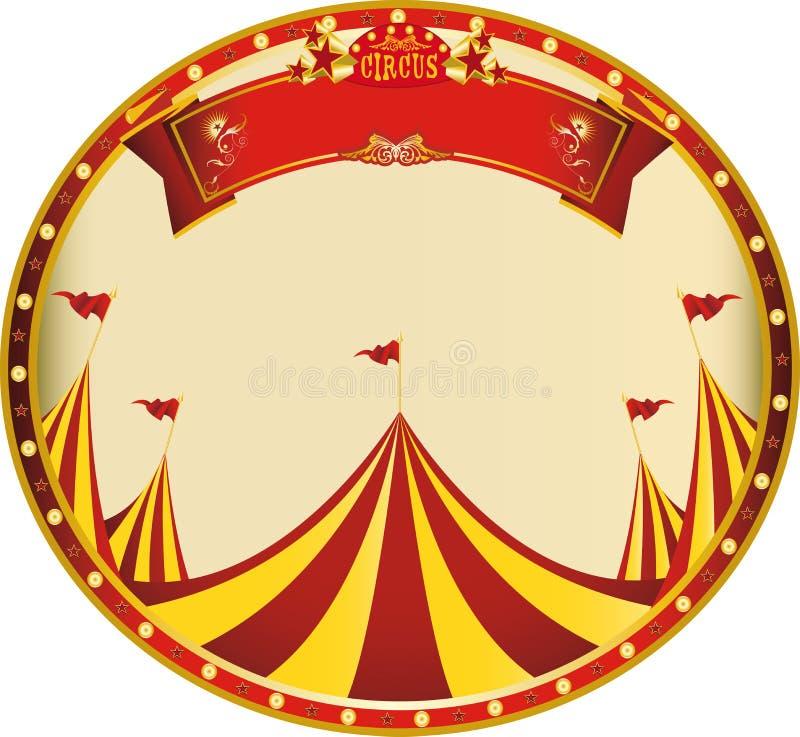 Κίτρινο κόκκινο τσίρκο αυτοκόλλητων ετικεττών απεικόνιση αποθεμάτων