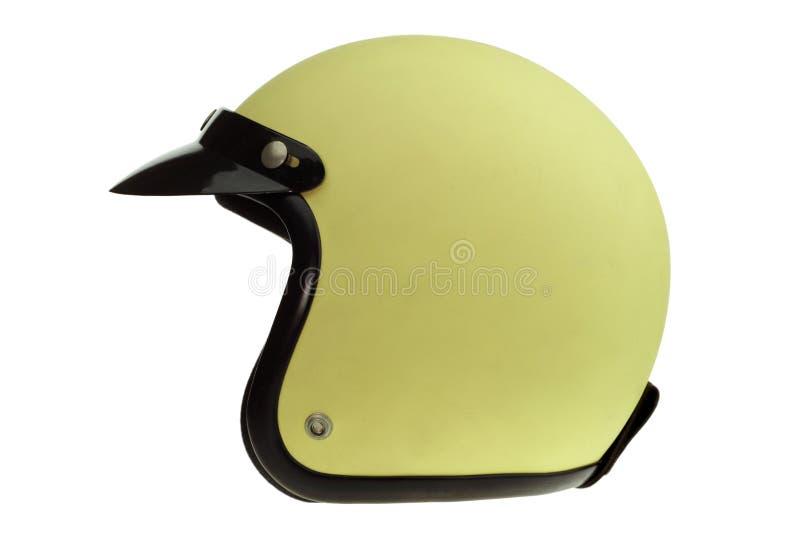 Κίτρινο κλασικό κράνος μοτοσικλετών στοκ εικόνα