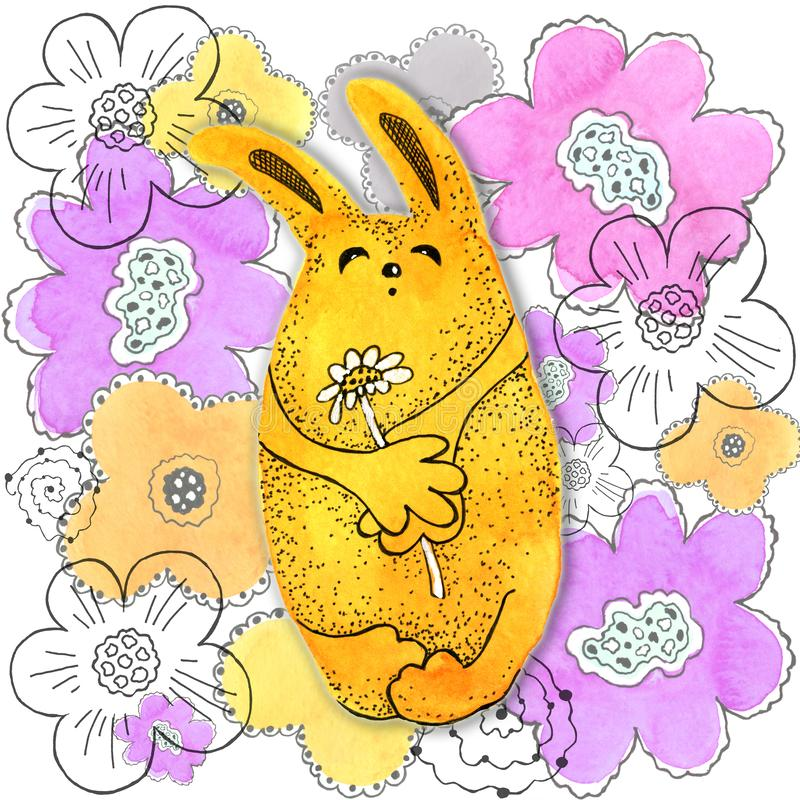 Κίτρινο λαγουδάκι, κουνέλι Ξέφωτο Σύροντας στο watercolor και το γραφικό ύφος για το σχέδιο των τυπωμένων υλών, υπόβαθρα, κάρτες απεικόνιση αποθεμάτων