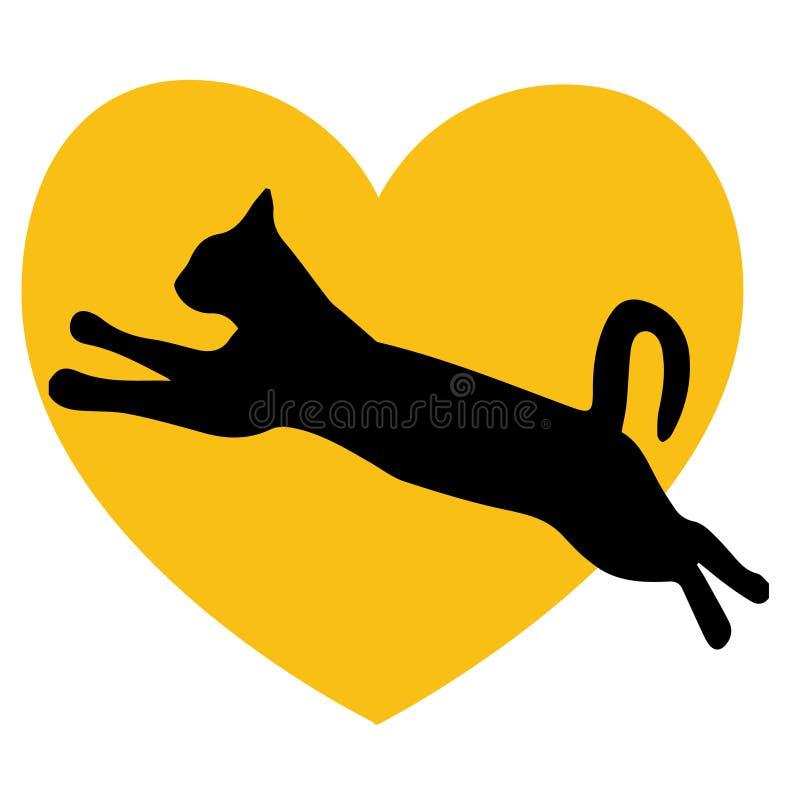 Κίτρινο λογότυπο καρδιών αγάπης γατών ελεύθερη απεικόνιση δικαιώματος