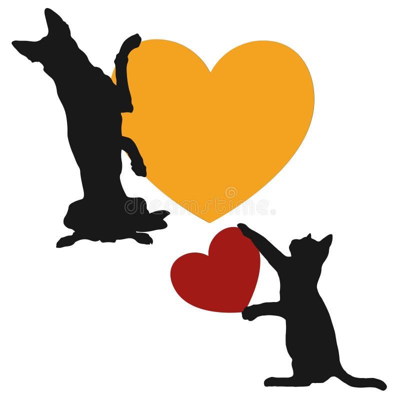 Κίτρινο λογότυπο καρδιών αγάπης σκυλιών και γατών ελεύθερη απεικόνιση δικαιώματος