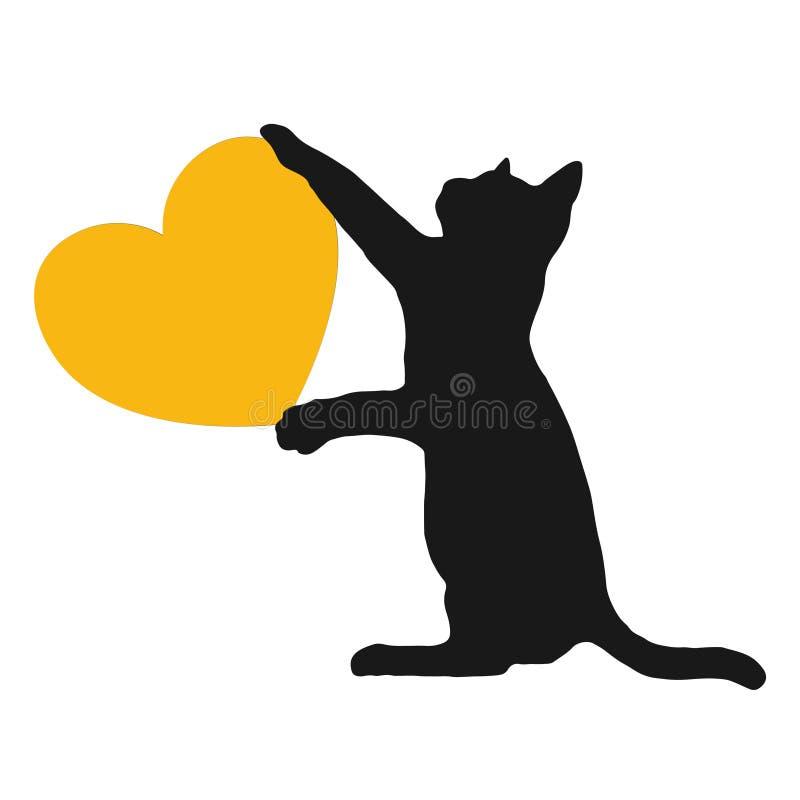 Κίτρινο λογότυπο καρδιών αγάπης σκυλιών και γατών διανυσματική απεικόνιση