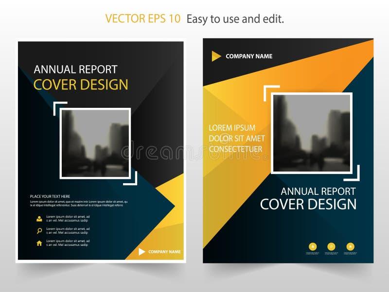 Κίτρινο μαύρο αφηρημένο διάνυσμα προτύπων σχεδίου φυλλάδιων ετήσια εκθέσεων Infographic αφίσα περιοδικών επιχειρησιακών ιπτάμενων διανυσματική απεικόνιση