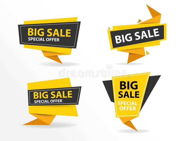 Κίτρινο μαύρο πρότυπο εμβλημάτων πώλησης αγορών, συλλογή εμβλημάτων πώλησης έκπτωσης απεικόνιση αποθεμάτων