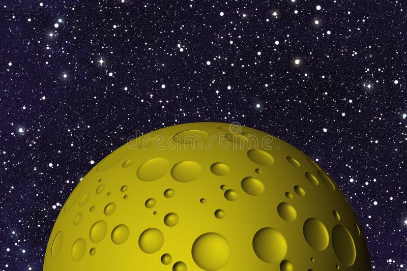 Κίτρινο μεγάλο φεγγάρι με τους κρατήρες διαστημικά υπόβαθρα διανυσματική απεικόνιση