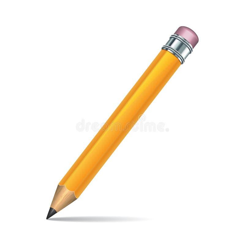 Κίτρινο μολύβι που απομονώνεται στην άσπρη ανασκόπηση ελεύθερη απεικόνιση δικαιώματος