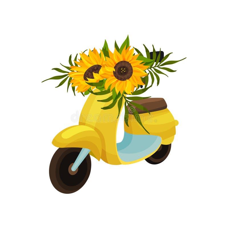 Κίτρινο μοτοποδήλατο με τα λουλούδια ηλίανθων E ελεύθερη απεικόνιση δικαιώματος