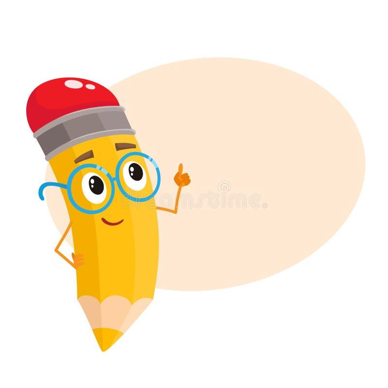 Κίτρινο μολύβι κινούμενων σχεδίων στα nerdy γυαλιά που λένε κάτι έξυπνο ελεύθερη απεικόνιση δικαιώματος