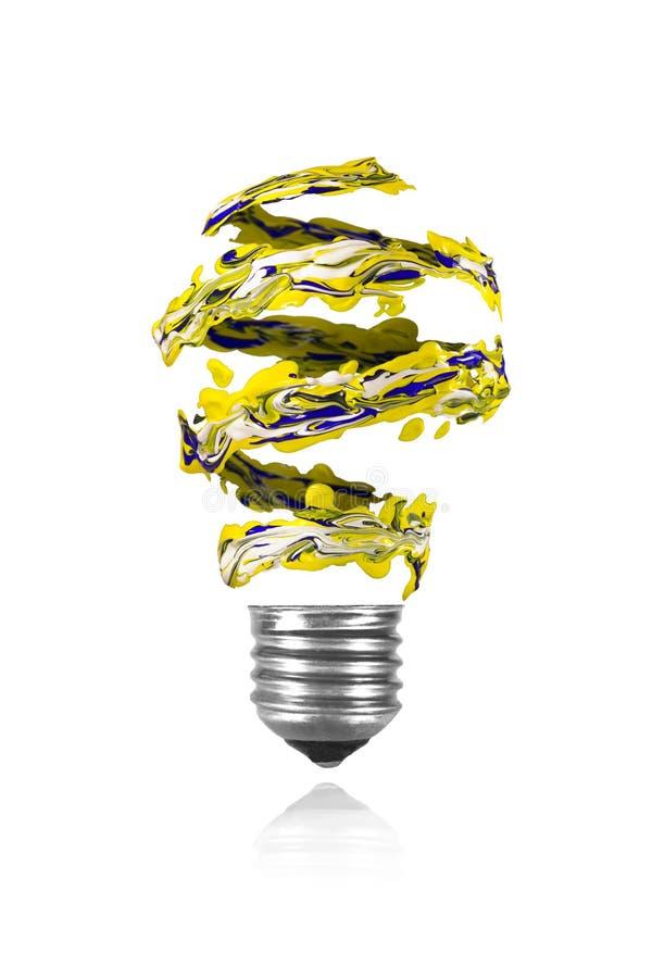 Κίτρινο μπλε άσπρο σπειροειδές ίχνος χρωμάτων που γίνεται τη λάμπα φωτός διανυσματική απεικόνιση