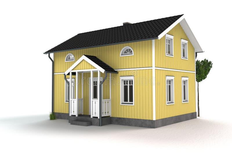 Κίτρινο ξύλινο εξοχικό σπίτι διανυσματική απεικόνιση
