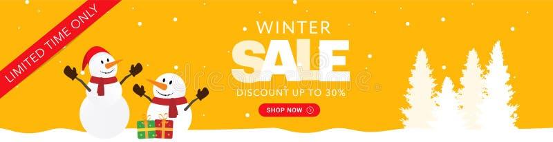 Κίτρινο οριζόντιο έμβλημα πώλησης Χριστουγέννων στοκ εικόνες