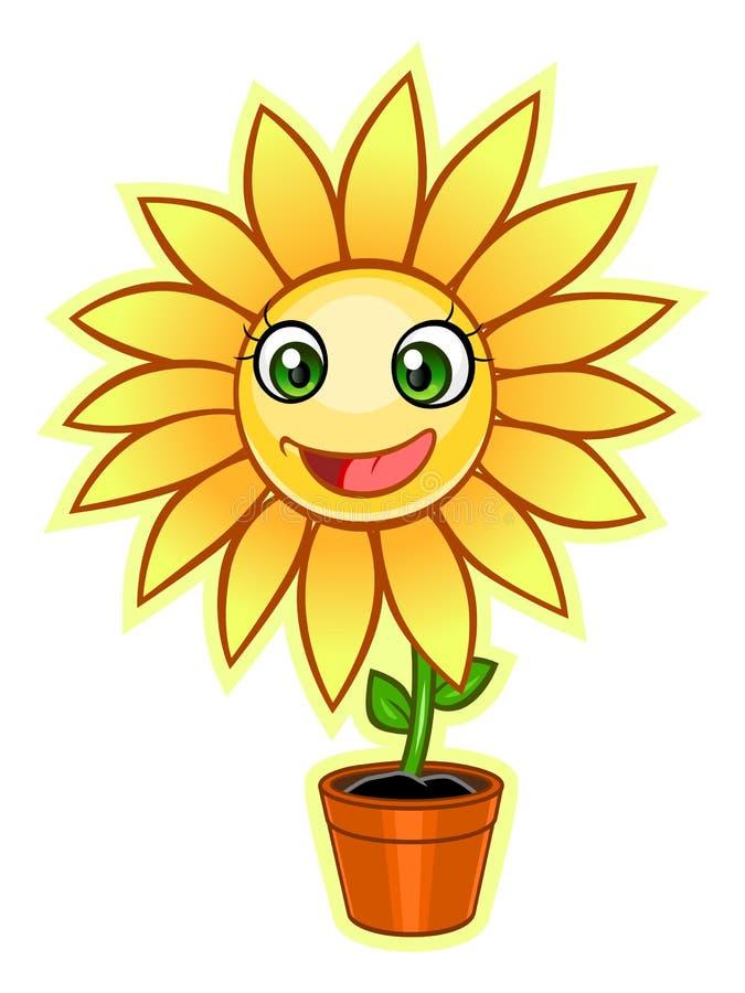 Κίτρινο λουλούδι κινούμενων σχεδίων διανυσματική απεικόνιση