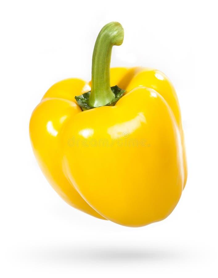 Κίτρινο πιπέρι κουδουνιών που απομονώνεται σε ένα λευκό στοκ φωτογραφίες με δικαίωμα ελεύθερης χρήσης