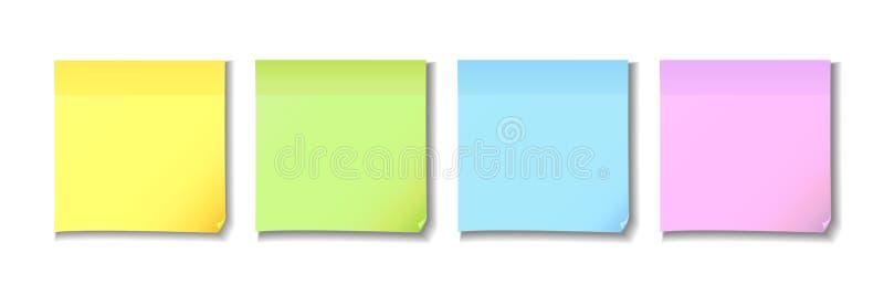 Κίτρινο, πράσινο, μπλε και ρόδινο κολλώδες έγγραφο σημειώσεων διανυσματική απεικόνιση