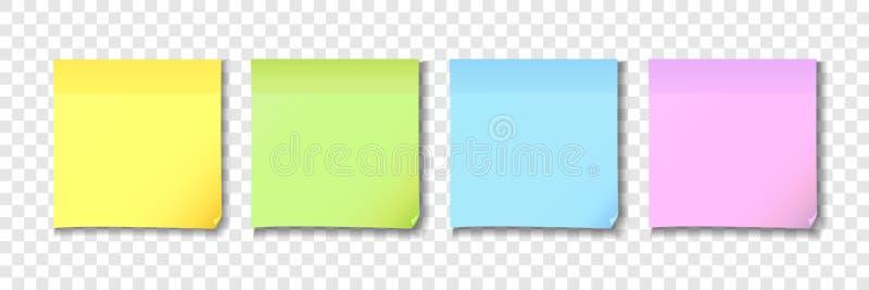 Κίτρινο, πράσινο, μπλε και ρόδινο κολλώδες έγγραφο σημειώσεων απεικόνιση αποθεμάτων