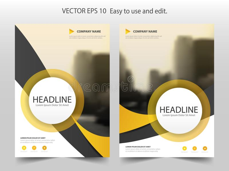 Κίτρινο πρότυπο σχεδίου ετήσια εκθέσεων ιπτάμενων φυλλάδιων κύκλων καμπυλών διανυσματική απεικόνιση