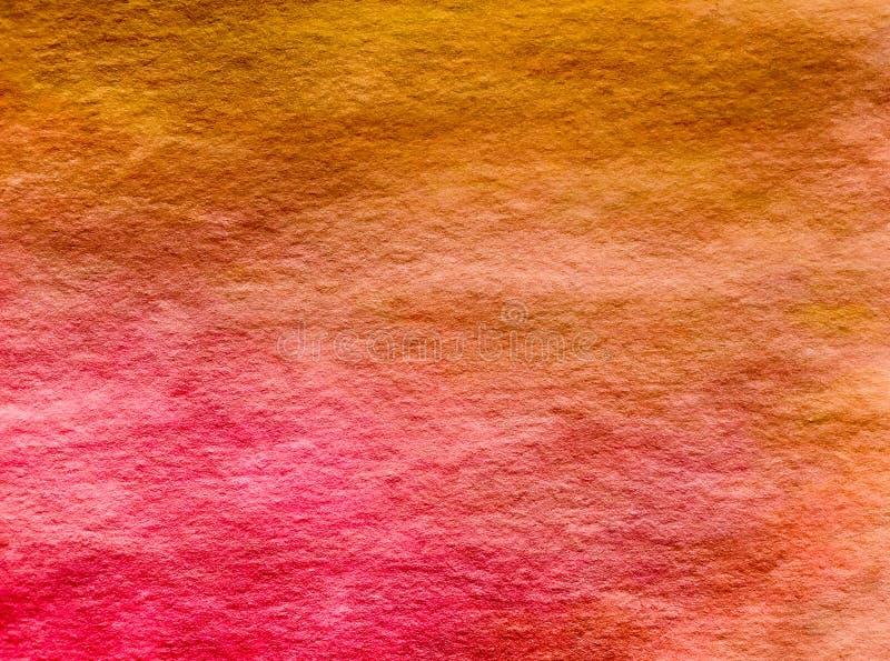 Κίτρινο ρόδινο κόκκινο πορτοκαλί υπόβαθρο Watercolor στοκ φωτογραφίες