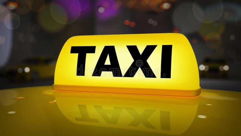 Κίτρινο σημάδι ταξί στο αυτοκίνητο στεγών απεικόνιση αποθεμάτων