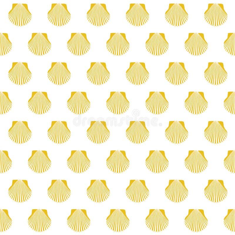 Κίτρινο σημάδι Camino Σαντιάγο κοχυλιών οστράκων άνευ ραφής ελεύθερη απεικόνιση δικαιώματος