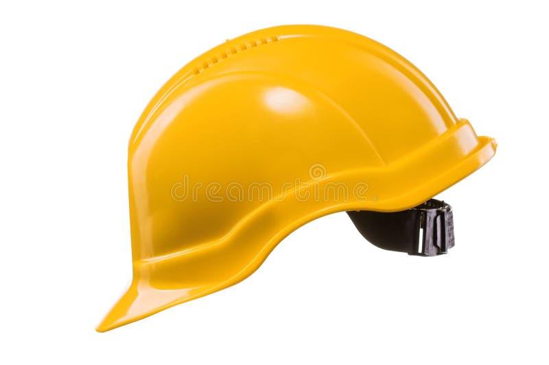 Κίτρινο σκληρό καπέλο που απομονώνεται στο λευκό στοκ εικόνες