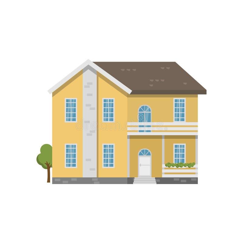 Κίτρινο σπίτι δύο-ιστορίας τούβλου με το μπαλκόνι επάνω από την είσοδο που απομονώνεται στο άσπρο υπόβαθρο διανυσματική απεικόνιση