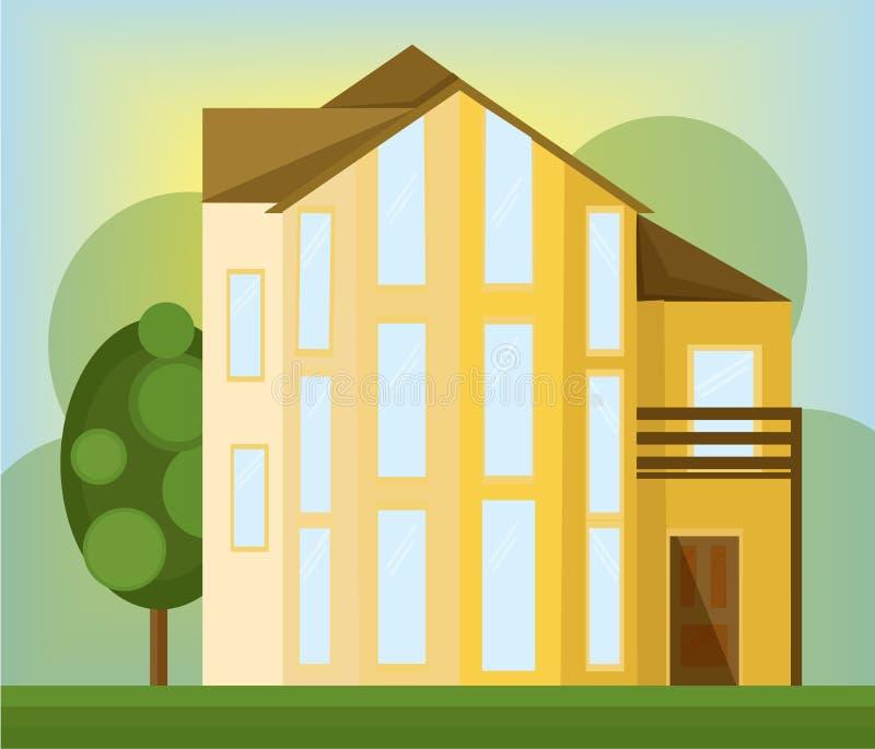 Κίτρινο σπιτιών κτήριο αρχιτεκτονικής προσόψεων διανυσματικό σύγχρονο διανυσματική απεικόνιση