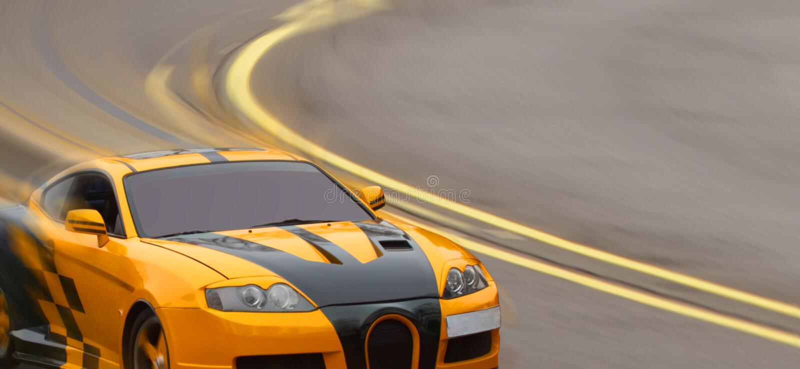Κίτρινο σπορ αυτοκίνητο στοκ φωτογραφίες