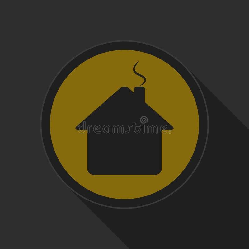 Κίτρινο στρογγυλό κουμπί - μαύρο σπίτι με το εικονίδιο καπνοδόχων απεικόνιση αποθεμάτων