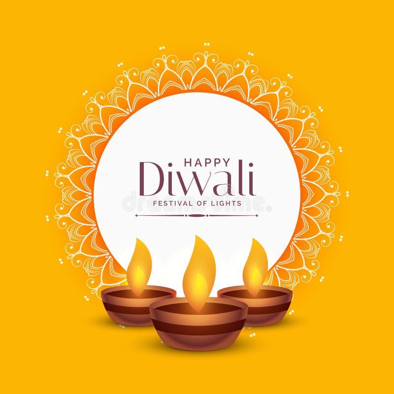 Κίτρινο σχέδιο χαιρετισμού φεστιβάλ diwali με τρεις λαμπτήρες diya ελεύθερη απεικόνιση δικαιώματος
