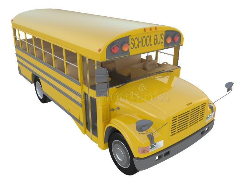 Κίτρινο σχολικό λεωφορείο με το κόκκινο σημάδι στάσεων Μεταφορά τρισδιάστατης απόδοσης άποψης σπουδαστών ή παιδιών της δευτερεύου ελεύθερη απεικόνιση δικαιώματος