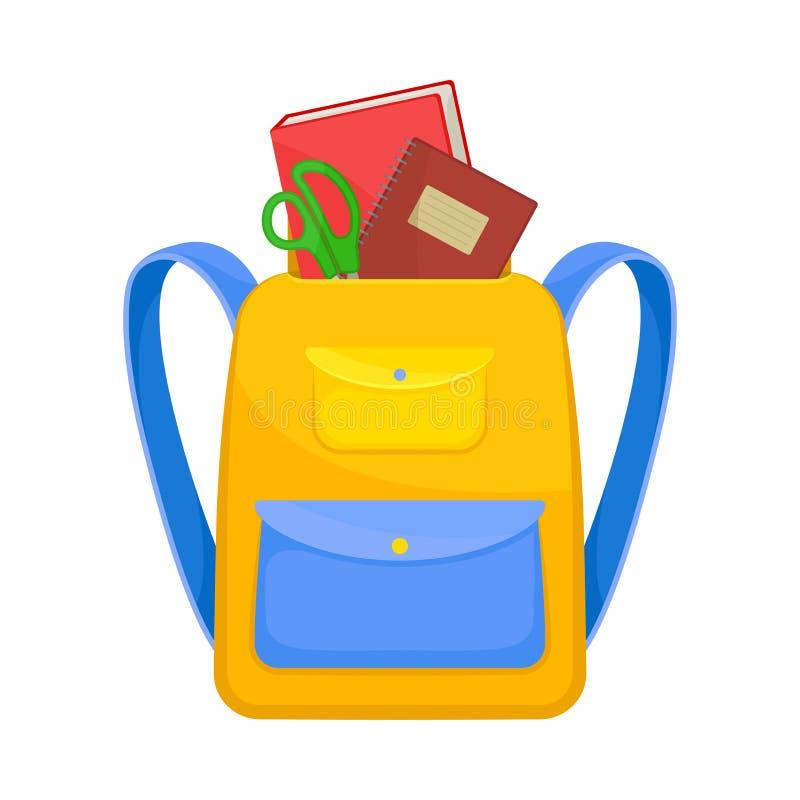 Κίτρινο σχολικό σακίδιο με μπλε τσέπη Διανυσματική απεικόνιση σε λευκό φόντο ελεύθερη απεικόνιση δικαιώματος