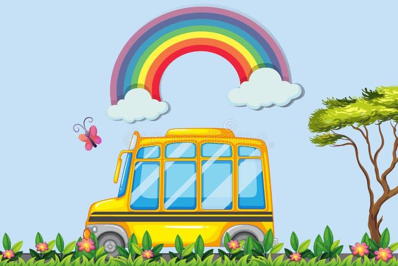 Κίτρινο σχολικό λεωφορείο στο πάρκο διανυσματική απεικόνιση