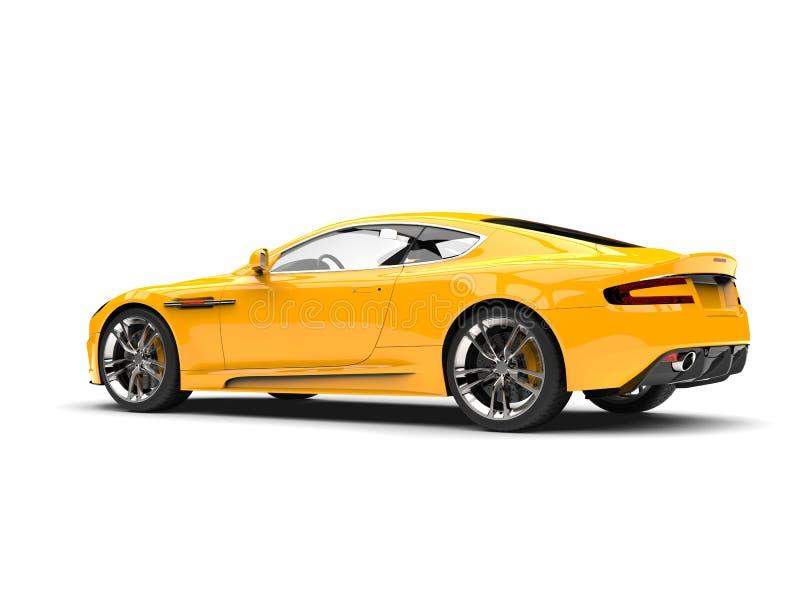Κίτρινο σύγχρονο αυτοκίνητο αθλητικής πολυτέλειας ήλιων - άποψη ουρών απεικόνιση αποθεμάτων