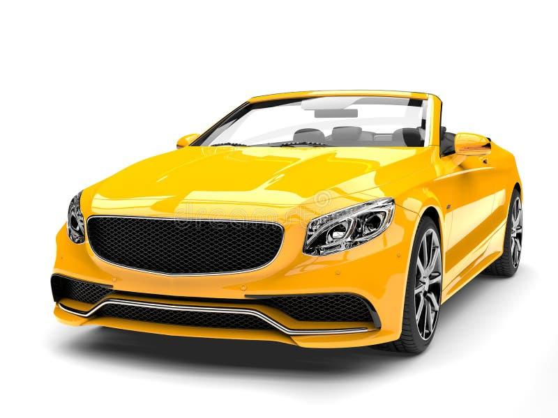 Κίτρινο σύγχρονο μετατρέψιμο αυτοκίνητο πολυτέλειας Cyber - πυροβολισμός κινηματογραφήσεων σε πρώτο πλάνο μπροστινής άποψης ελεύθερη απεικόνιση δικαιώματος