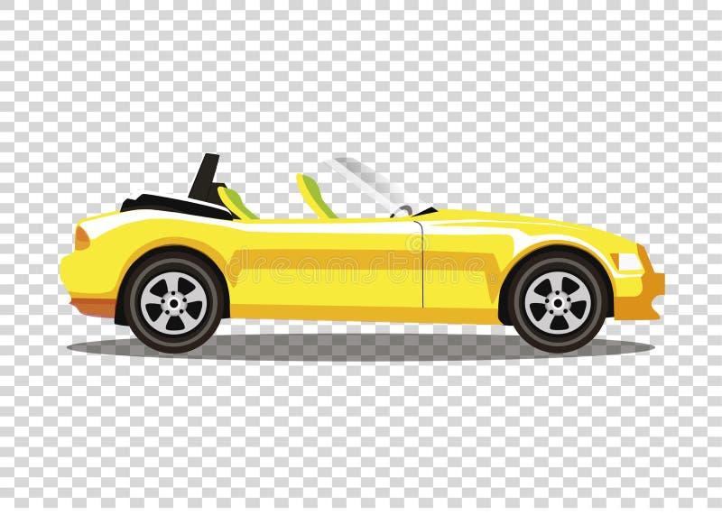 Κίτρινο σύγχρονο χρωματισμένο κινούμενα σχέδια αυτοκίνητο καμπριολέ που απομονώνεται σε transpar απεικόνιση αποθεμάτων