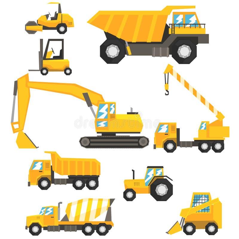 Κίτρινο σύνολο αυτοκινήτων και μηχανημάτων κατασκευής ζωηρόχρωμων οχημάτων στις ρεαλιστικές απεικονίσεις σχεδίου ελεύθερη απεικόνιση δικαιώματος