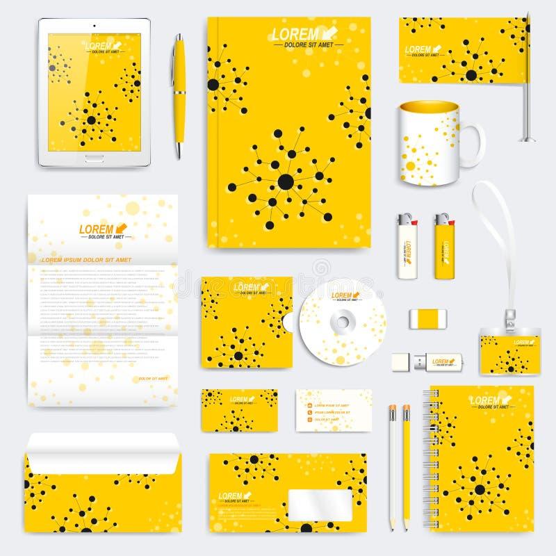 Κίτρινο σύνολο διανυσματικού εταιρικού προτύπου ταυτότητας Σύγχρονο ιατρικό πρότυπο χαρτικών Σχέδιο μαρκαρίσματος με το μόριο ελεύθερη απεικόνιση δικαιώματος