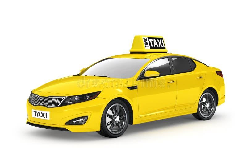 Κίτρινο ταξί που απομονώνεται στο άσπρο υπόβαθρο ελεύθερη απεικόνιση δικαιώματος